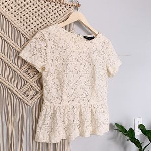 FRENCH CONNECTION Lace Peplum Crop Top